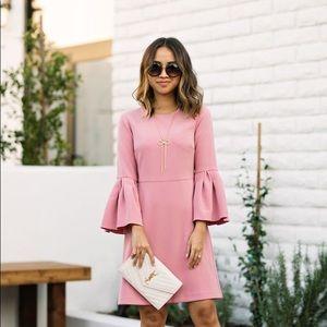 Ann Taylor Bell, 3/4 Length Sleeve Dress, Blush